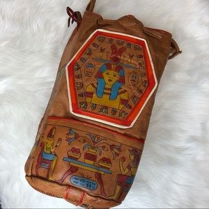Handbags - Purse | Vintage Leather Egyptian Print with Color
